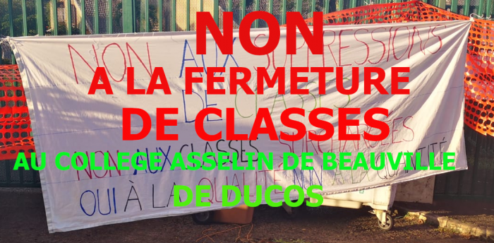 NON A LA FERMETURE DE CLASSES AU COLLEGE ASSELIN DE BEAUVILLE DE DUCOS